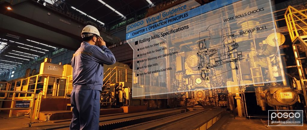 POSCO worker in a smart factory.