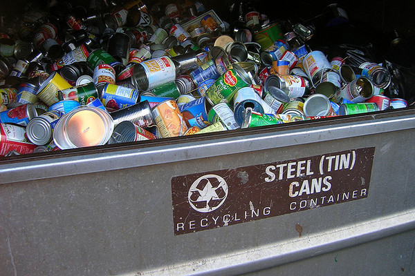 Steel cans get ready to be recycled.