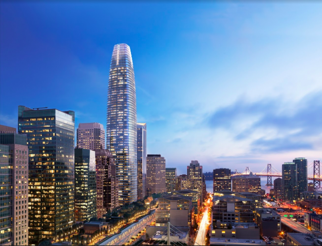 A night view of the Salesforce Tower in San Francisco.