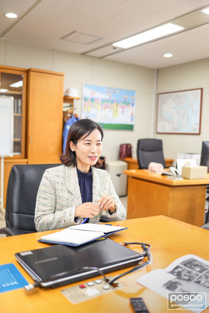 Lee Yu-Kyung during an interview at her office at POSCO.
