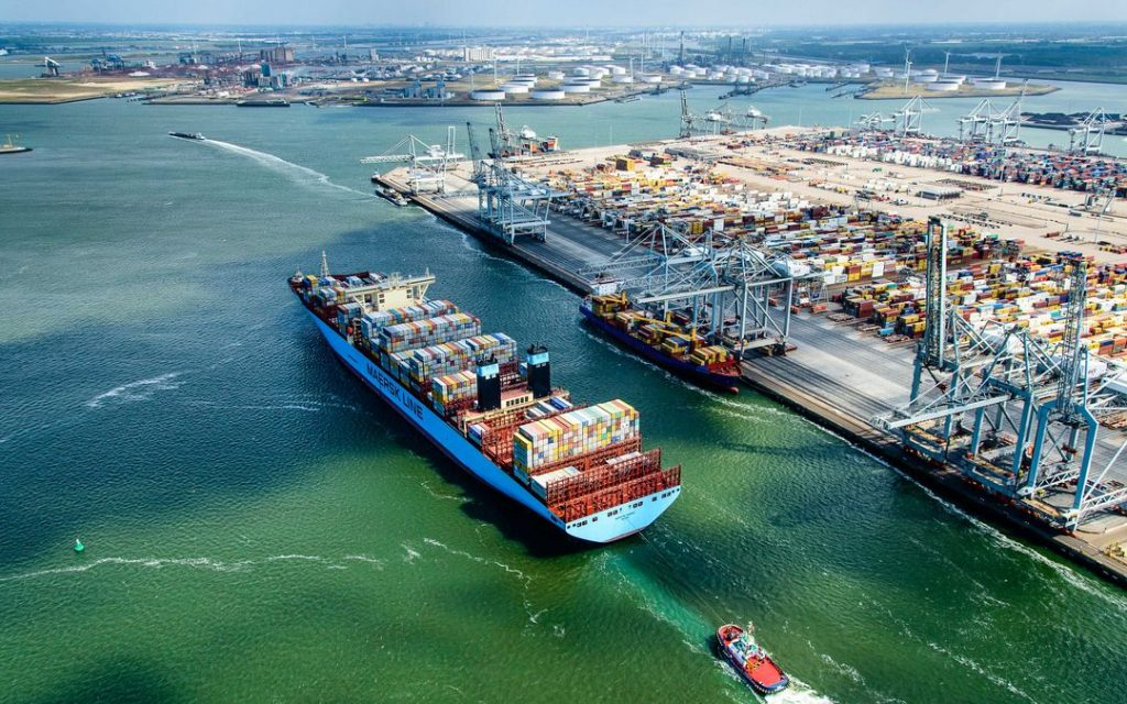 A birds-eye view of the global shipping Port of Rotterdam.