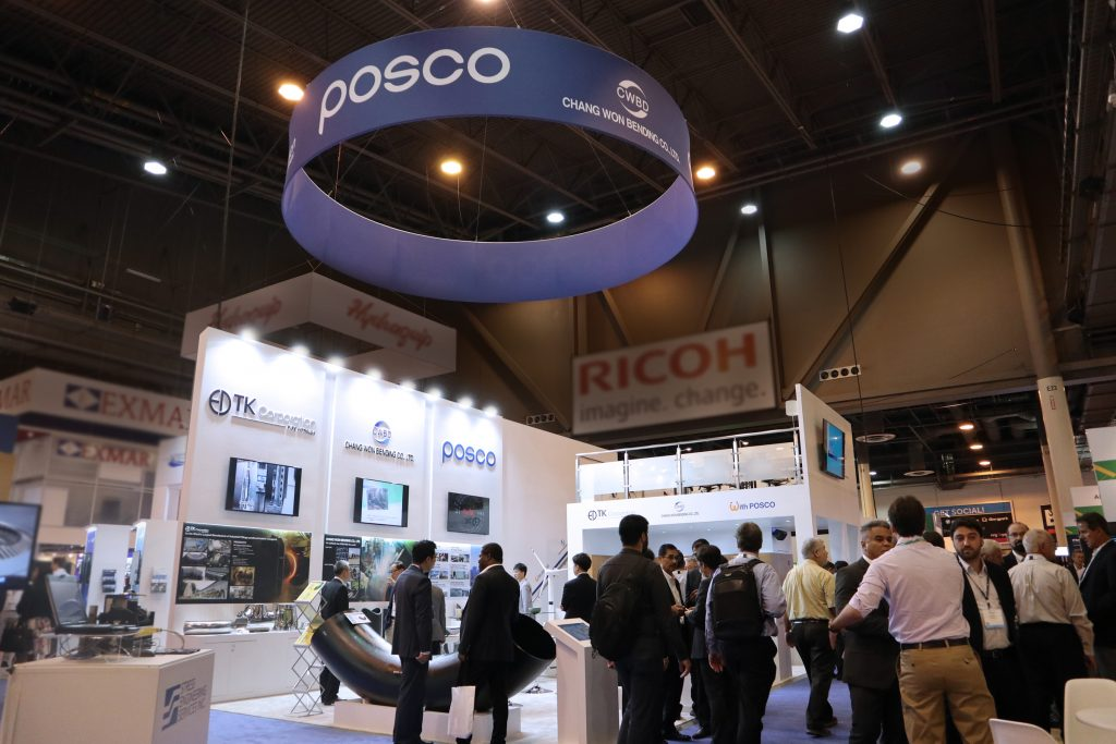 POSCO exhibition booth at OTC in Houston, Texas – from May 6th to 9th, POSCO participated in the world's top offshore tech conference showcasing the company's World Top Premium (WTP) products.