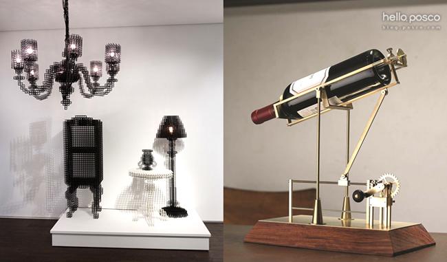 박보미의 AfteAfter image Series, 2011~2014(좌), 이상민의 Mechanical wine decanting Ⅱ, 2011(우)