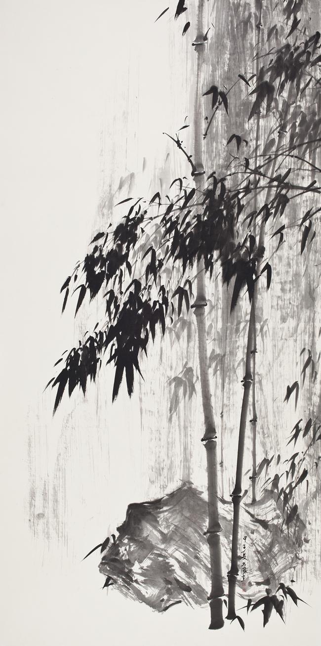 雨竹圖(屛風)Ⅰ_한지에-수묵담채_247×123