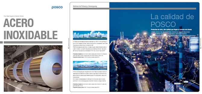 스페인어 버전으로 새롭게 제작한 STS 제품 카탈로그 POSCO ACERO INOCIDABLE La calidad de POSCO
