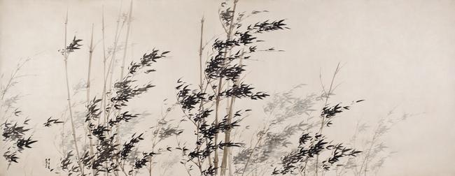 風竹圖-VII_비단에-수묵담채_143×369cm_2014
