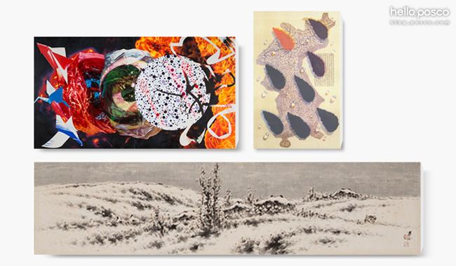 (위 좌측) James Rosenquist, Eclipes, eclipes, eclipse, 205.7×365.8cm, Oil on canvas, 1994 (위 우측) 김창렬, Water Drops, 74x112cm, 판화, 1994 (아래) 이상범, 산수, 112x28cm, 한지에 수묵채색, 1974
