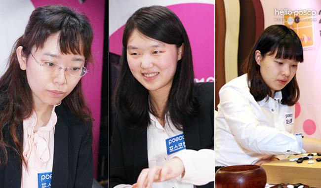 왼쪽부터 2지명 조혜연, 외국인 선수 왕천싱, 3지명 김은선