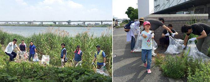 아라카와강 하천 인근과 오사카 스케마츠 공장이 위치한 항만 지역, 일본 3대 성 중 하나인 나고야성, 히로시마 역 주변 환경정화 활동
