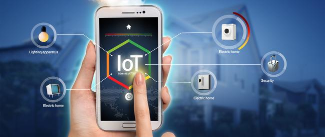 Lighting apparatus Electric home IoT Electric home Electric home Security 중앙는 핸드폰 사진이 있으며 홈키와 IoT와 전원 버튼이 있다. 전구 티비 세탁기 자물쇠 냉장고가 있다.
