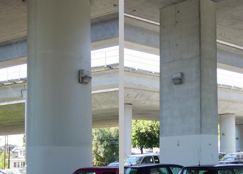좌)철근콘크리트 구조물의 내진보강용 스틸 자켓을 씌운 기둥, 우)일반기둥