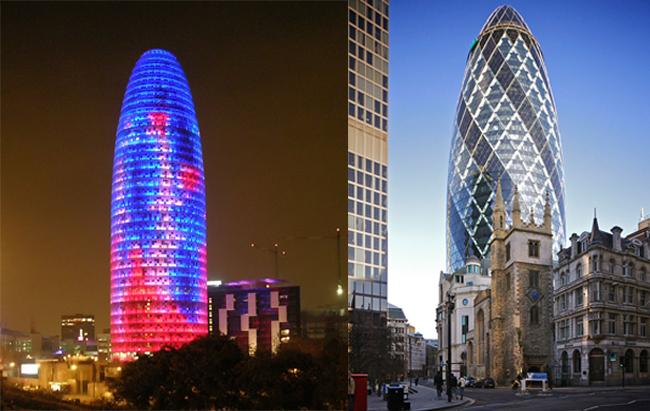 좌)바르셀로나의 약 144m(33층 규모) 아그바 타워(Torre Agbar) 우)런던의 92층 스위스 르 빌딩