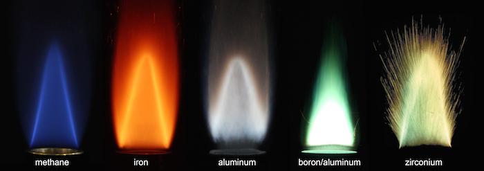 다양한 금속의 연소 특성 실험 장면