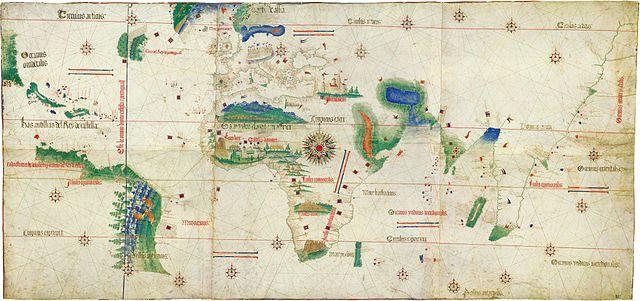 대항해 시대콜럼버스의 항해 경로를 알려주는 지도(1502)
