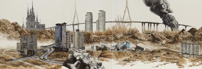 김춘재-강산무진, 92.5×1600cm, Oil on canvas, 2013~2014