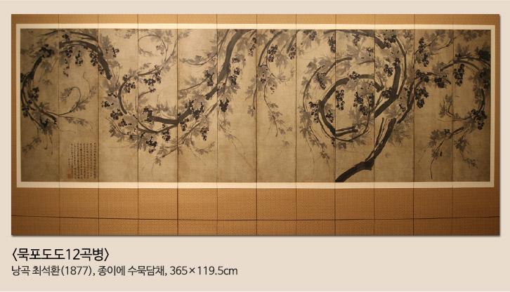 포도도12곡병 낭곡 최석환(1877), 종이에 수묵담채, 365x119.5cm