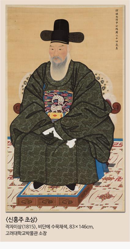 신홍주 초상 작자미상(1815),비단에 수묵채색, 83x146cm 고려대학교박물관소장