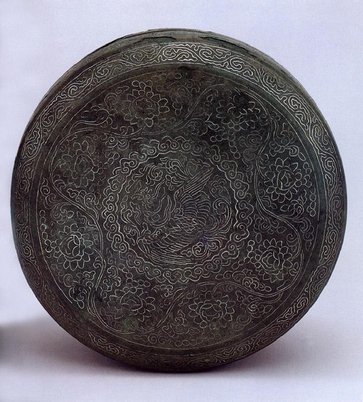 고려시대에 제작된 청동 은입사 봉황무늬 향합