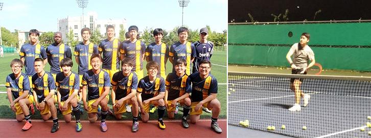 사내 축구동호회 'FC로얄즈' 멤버들과 함께 찍은 사진(왼쪽)과 테니스를 치고있는 모습(오른쪽)