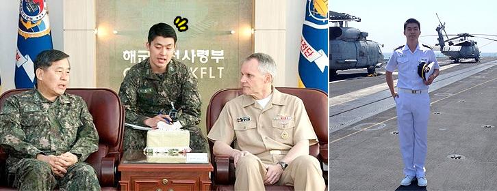 영어 통역장교로 활동하는 모습(왼쪽)과 해군 제북을 입고 있는 모습(오른쪽)