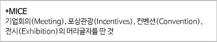 *MICE 기업회의(Meeting), 포상관광(Incentives), 컨벤션(Convention), 전시(Exhibition)의 머리글자를 딴 것