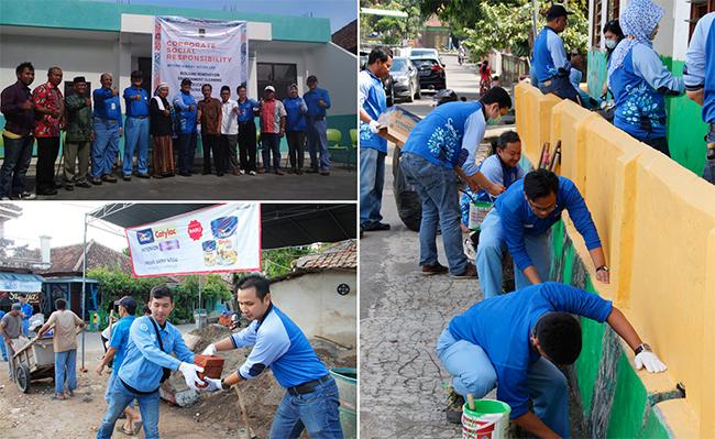인도네시아 뜨갈라뚜 마음을 찾은 포스코에너지 임직원들이 봉사활동을 하는 모습.