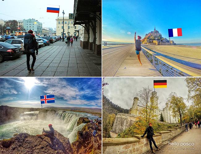 시계 방향 순서대로 러시아 모스크바 역, 프랑스 몽 생 미셸, 독일 노이슈반슈타인 성, 아이슬란드 굴포스 사진