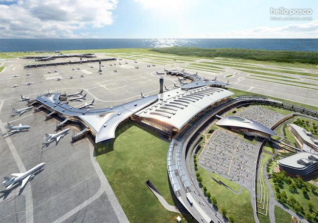 제2여객터미널을 항공에서 찍은 모습