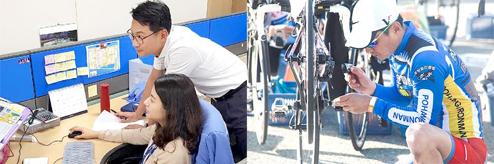 (왼쪽부터) 사무실에서 업무를 보는 이정훈 리더의 모습과 철인 3종 경기에 참가해 장비를 점검하는 이정훈 리더의 모습.