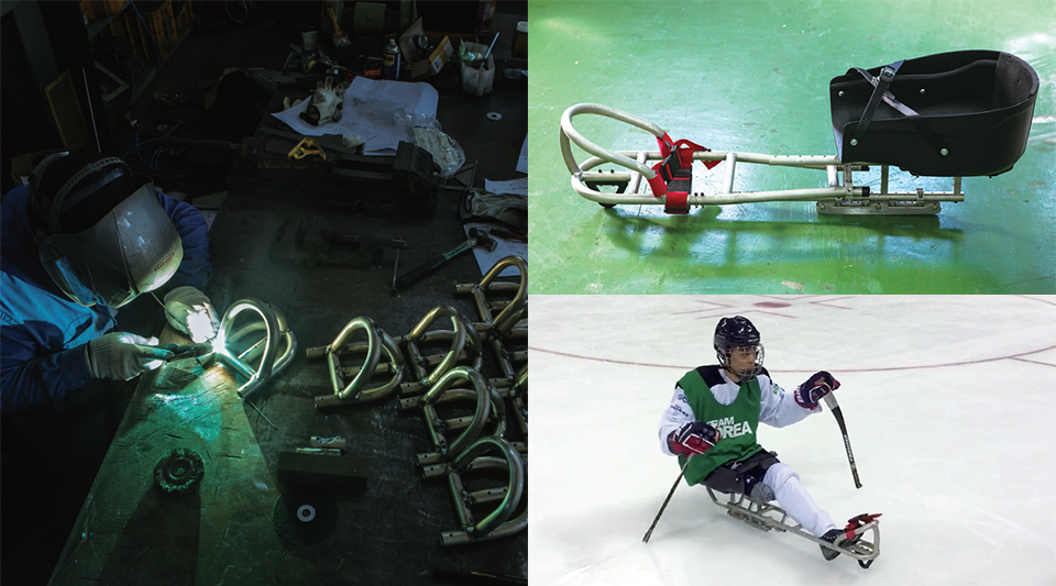 (좌)장애인 아이스하키 선수들을 위한 장비를 만들고 있는 모습. (오른쪽 상단)완성된 장비 모습. (오른쪽 하단) 장애인 아이스하키 선수가 얼음판 위에서 장비를 타보고 있다.