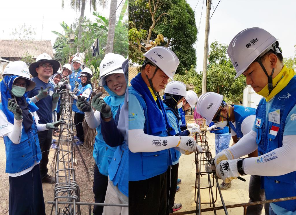 인도네시아 찔레곤시에서 스틸하우스 철골구조를 제작 중인 포스코 임직원 글로벌 봉사단 모습
