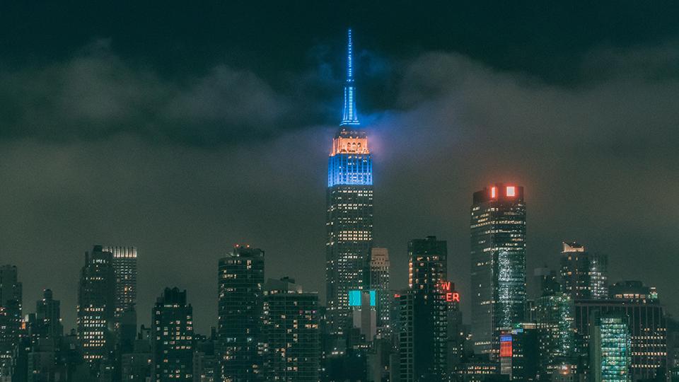 엠파이어 스테이트 빌딩의 야경.