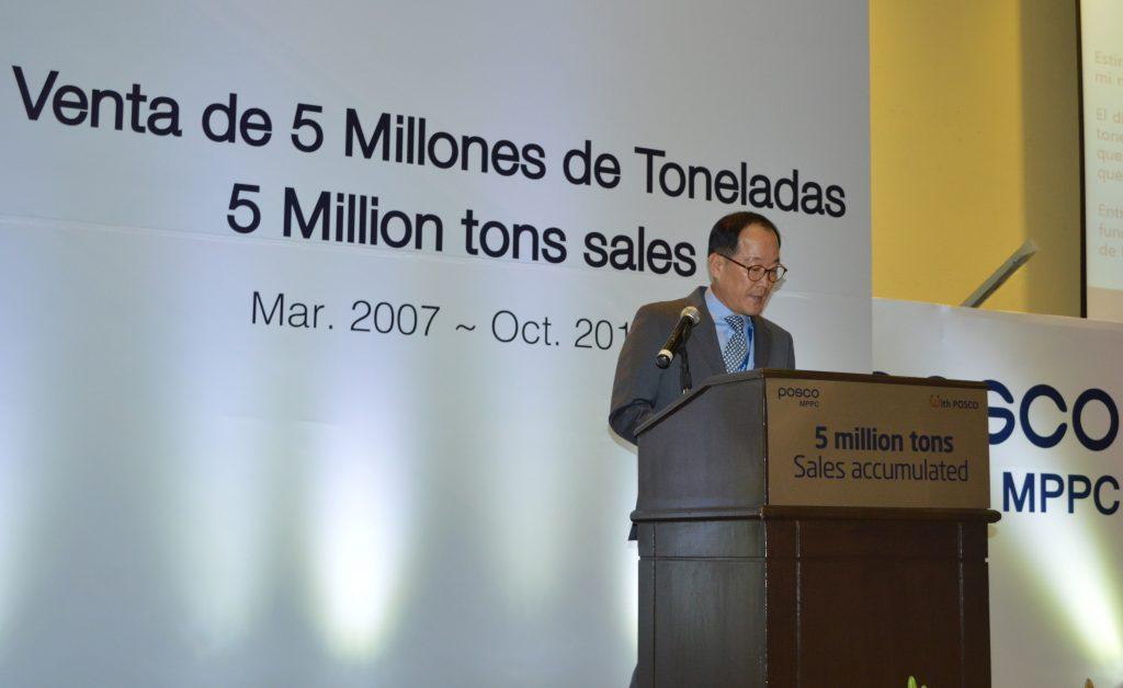 김광수 포스코아메리카 법인장이 포스코-MPPC 500만톤 판매달성 기념행사에서 축사를 하고 있는 모습.