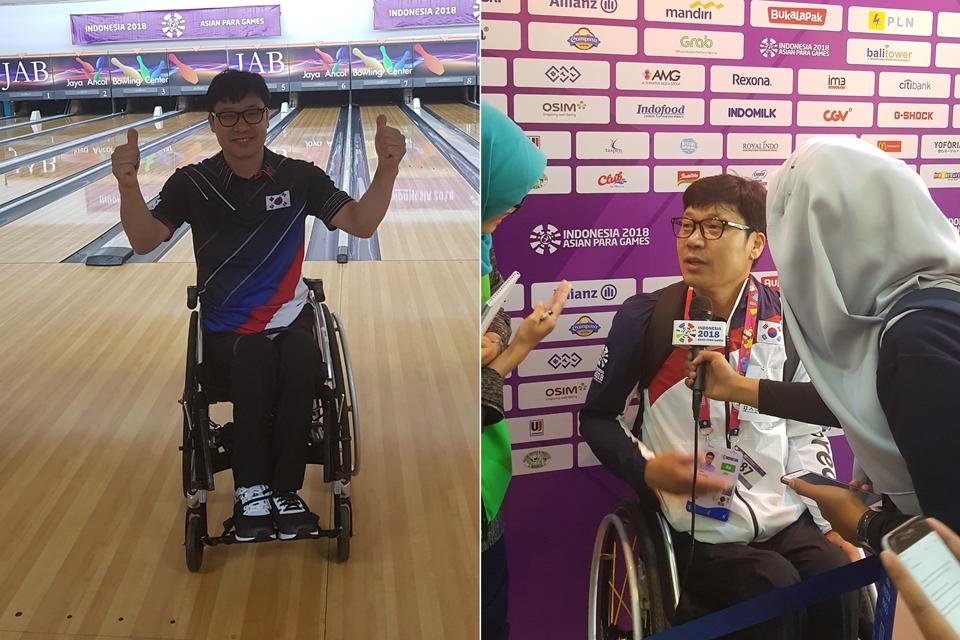 2018 인도네시아 장애인 올림픽 출전 당시 모습(왼쪽)과 현지 언론 인터뷰 모습(오른쪽)