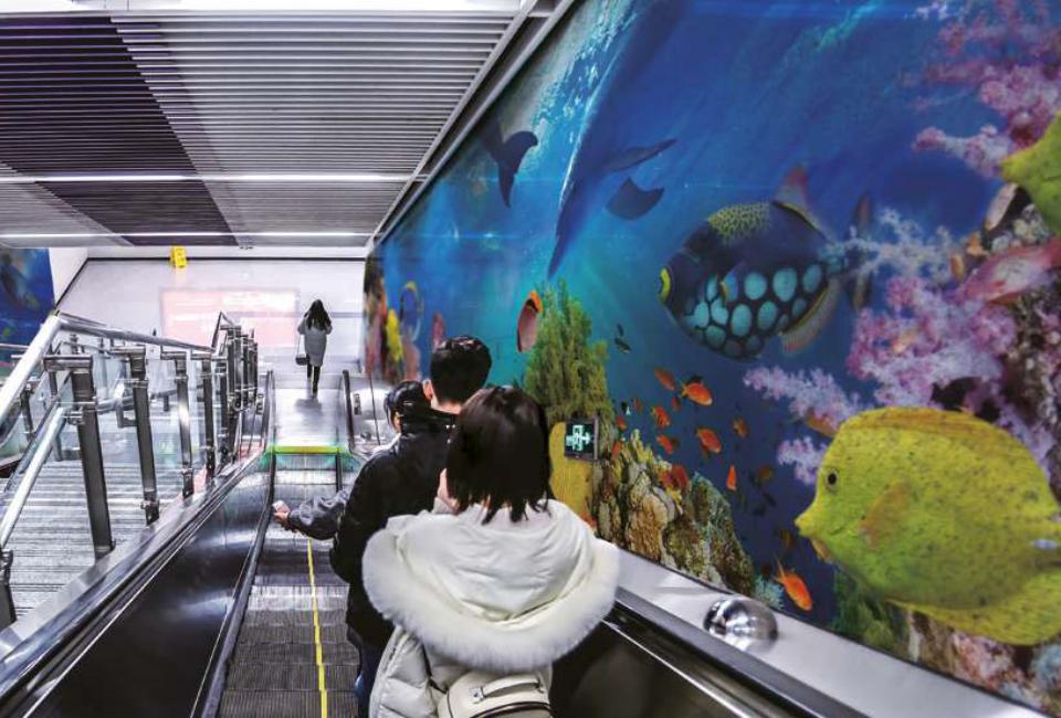 포스아트(PosART)- 에스컬레이터 옆에 바다의 여러 형형색색의 물고기와 풍경이 하나의 벽화처럼 프린팅 되어있는 사진