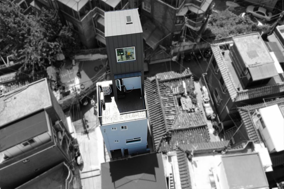 최우수상 <외지붕이 매력적인 협소주택> 하늘에서 내랴다본 모습