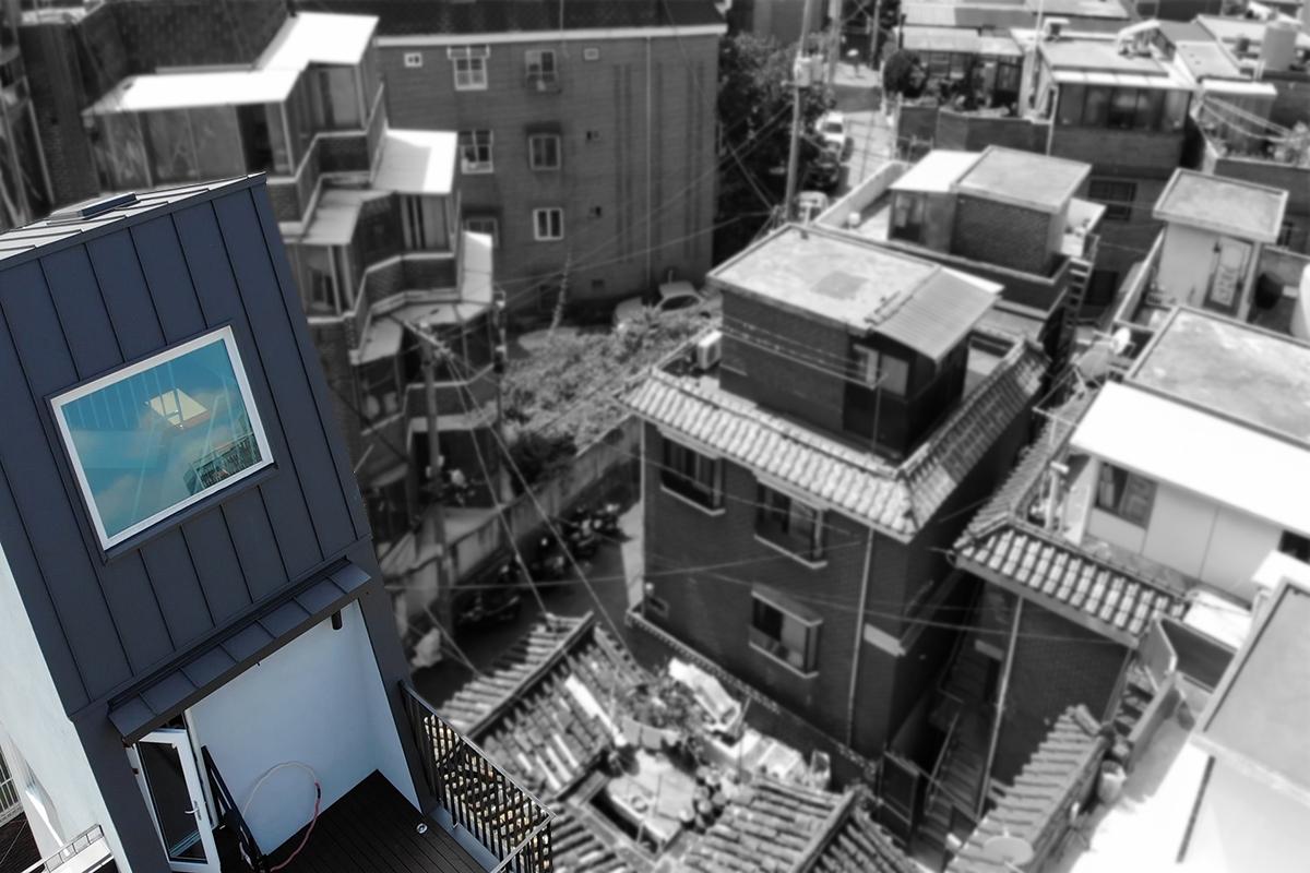 최우수상 <외지붕이 매력적인 협소주택> 지붕 클로지업