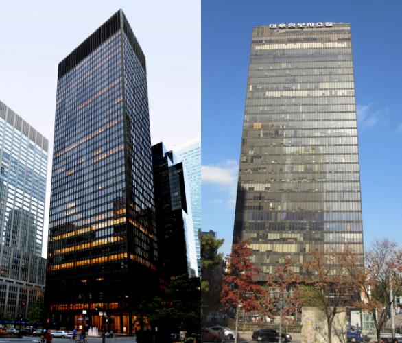 뉴욕 시그램 빌딩(좌측)과 이를 모델로지어진 삼일빌딩(우측) (출처: John W. Cahill/CTBUH, CC BY-SA 3.0)