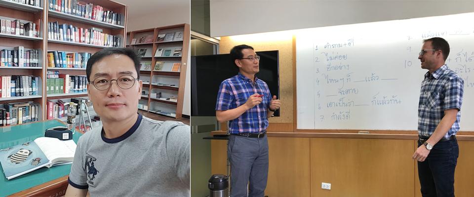대학 도서관에서 책을 읽는 장백석 과장 사진(왼쪽), 태국 출라롱콘 대학교 어학원에서 교수님과 프리토킹 중인 장백석 과장 사진(오른쪽)