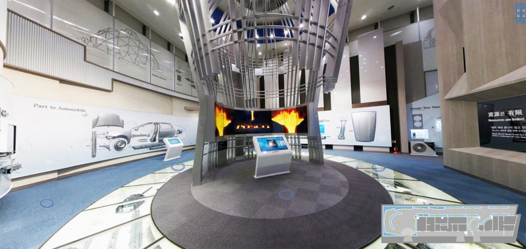 송도에 위치한 '포스코 글로벌 R&D센터' 내 제품전시관을 그대로 옮겨놓은 가상전시관 내부