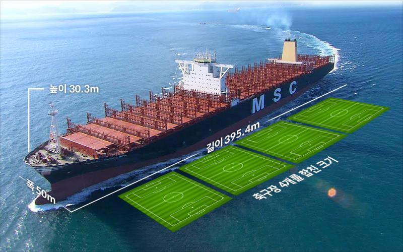 MSC사의 컨테이너선 사진(높이 30.3미터, 폭 50미터, 길이 395.4미터, 축구장 4개를 합친 크기)