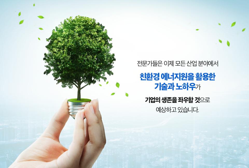전구 받침대 위에 전구 모양의 나무가 있는 사진. (전문가들은 이제 모든 산업 분야에서 친환경 에너지원을 활용한 기술과 노하우가 기업의 생존을 좌우할 것으로 예상하고 있습니다.)