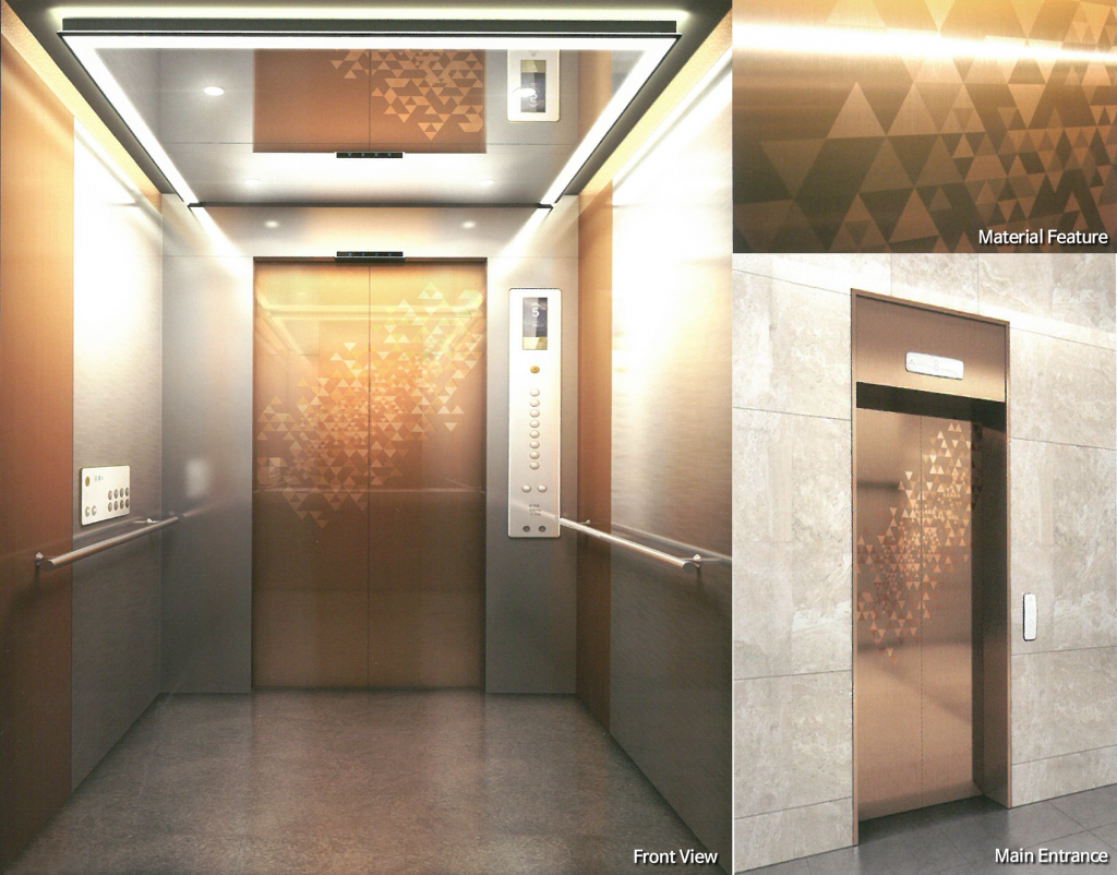 DSP의 SUPERTEEL이 적용된 엘리베이터. 엘리베이터 개폐 문의 외장재로 SUPERTEEL이 사용됐다.