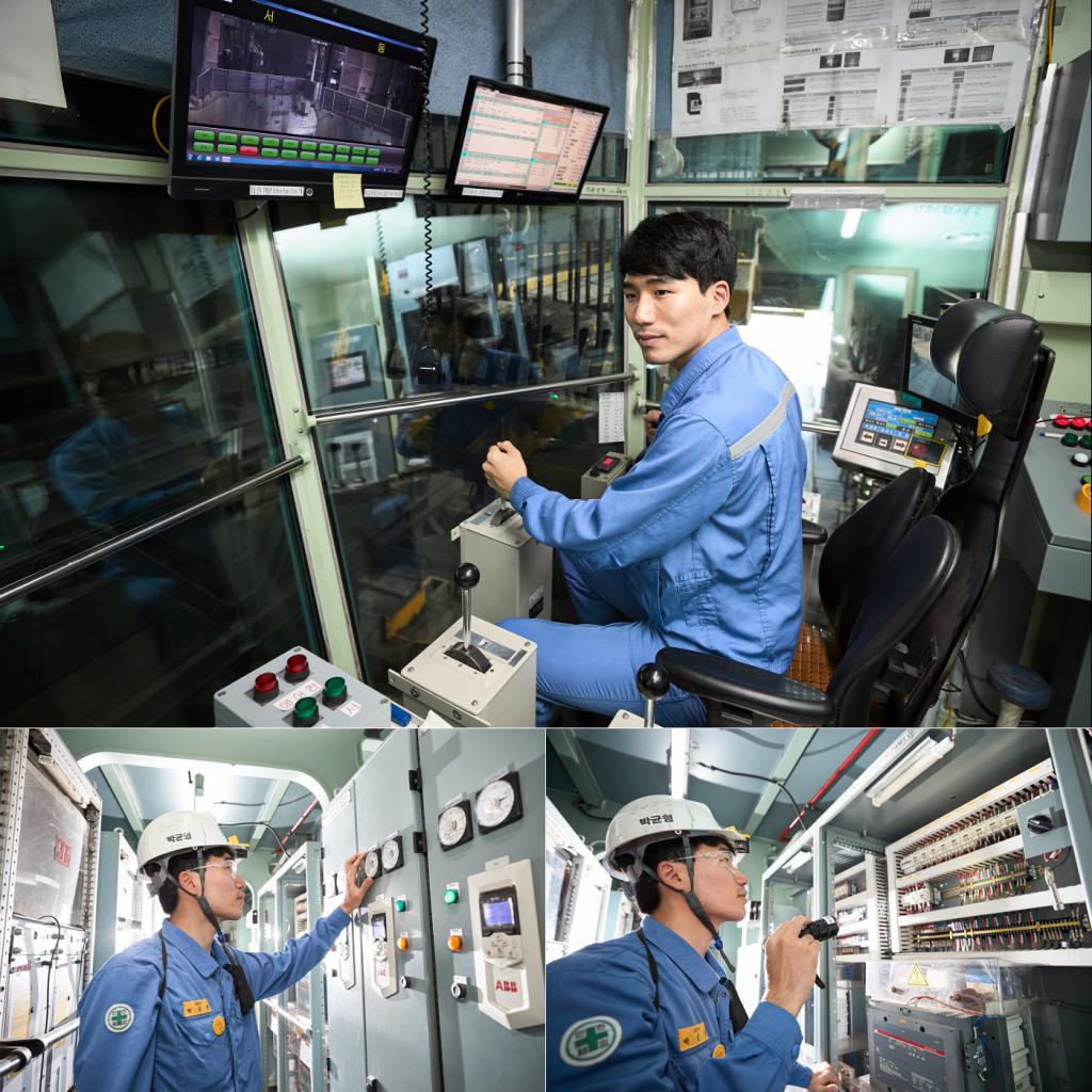 제철소 기계 설비를 작동하고 있는 박균형 사원의 모습 3컷