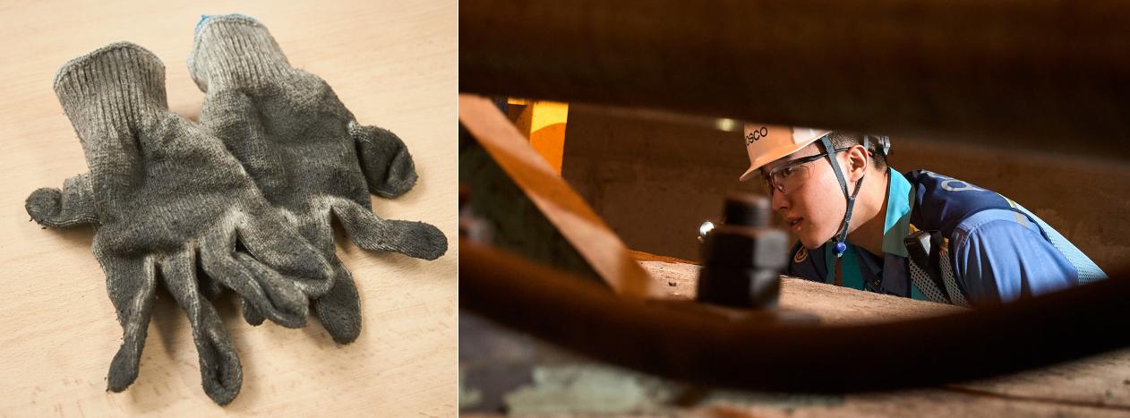 박진수 사원이 본인의 훈장처럼 갖고 있는 인생 첫 정비용 장갑과 공정을 보고 있는 박진수 사원