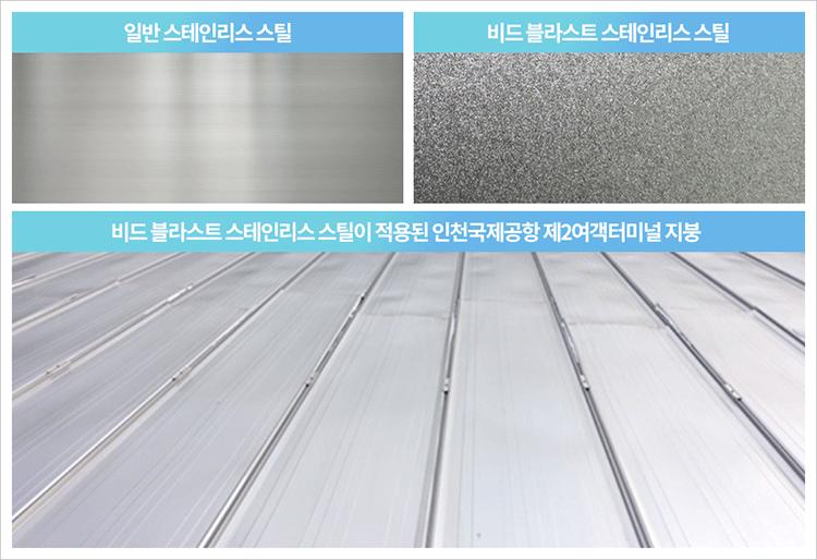 일반 스테인리스 스틸과 비드 블라스트 스테인리스 스틸을 비교하는 도표. 아래에는 비드 블라스트 스테인리스 스틸이 적용된 인천국제공항 제2여객터미널 지붕의 그림이 있다.