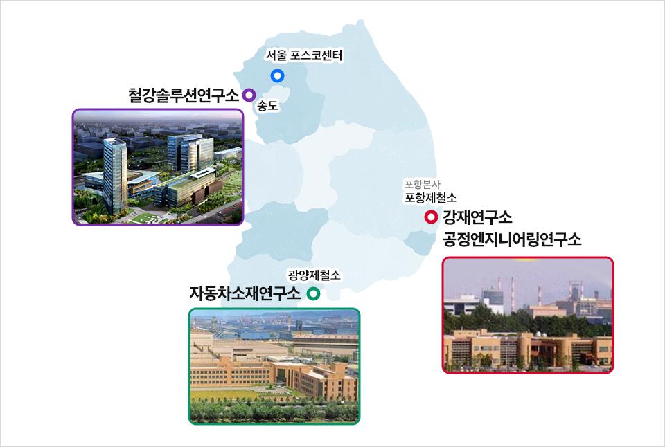 서울 ;포스코센터, 송도 :철강솔루션연구소, 광양제철소: 자동차소재연구소, 포항본사-포항제철소:강재연구소 공정엔지니어링 연구소