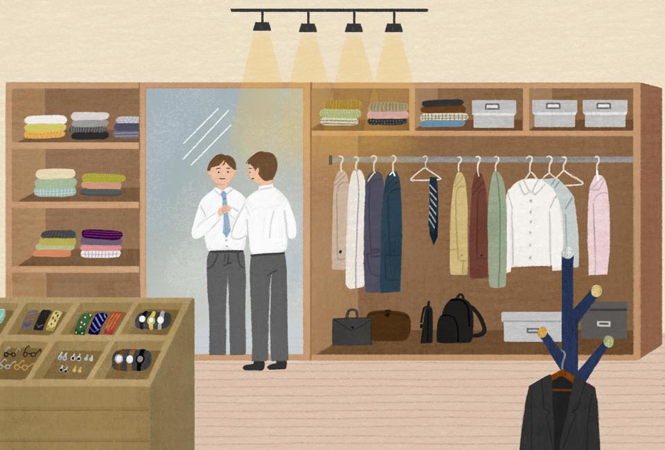 출근 전 드레스룸에서 옷을 입으며 출근 준비를 하는 모습을 그린 그림