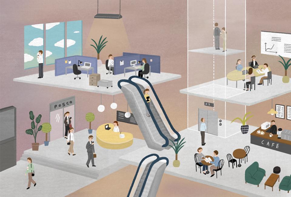 회사의 모습을 그린 그림 에스컬레이터 회의하는 사람들, 회사 내 카페, 출근하는 사람들의 모습이 보인다.