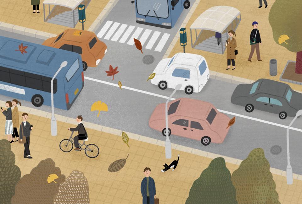 퇴근길의 풍경을 그린 그림 걸어가는 사람들 자동차 버스 택시 지하철역 등이 보인다.